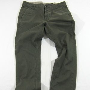 All Saints Mens Charge Chinos Olive Green Pants 30